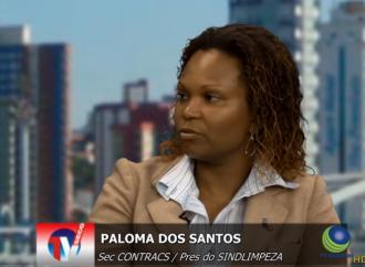 Paloma Santos –  Secretária de Mulheres da Contracs e Presidenta do Sindilimpeza-Baixada Santista participam de entrevista na TV SECOR
