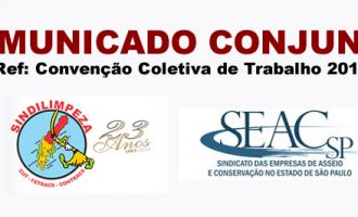 Comunicado Conjunto 2016 – SINDILIMPEZA e SEAC-SP assinado